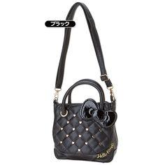 Hello Kitty 2 Way Shoulder Bag Handbag Studs Black SANRIO JAPAN