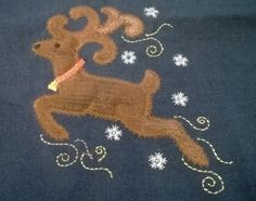 Erica Bottger appliqued our GO! Reindeer die to make unique Christmas gifts last year. She stuffed a little batting under the body to make it more dimensional! Many holiday dies are on sale for Christmas in July! #accuquilt #holidayapplique #holidayideas #sewchristmasgifts