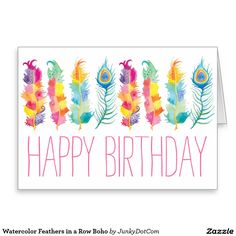 Watercolor Feathers in a Row Boho Greeting Card - Oct 5