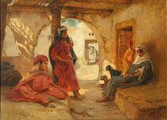 Frédéric-Arthur BRIDGMAN (1847-1928) Personnages dans un riad en Afrique du Nord - 1921 Huile sur toile