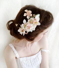 cherry blossom hair accessory, Chieko, pink, white, thehoneycomb, $48.00, etsy