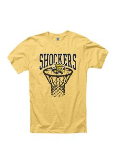Wichita State Shockers Mens Gold Short Sleeve T-Shirt http://www.rallyhouse.com/shop/wichita-state-shockers-mens-gold-net-short-sleeve-tee-22780562?utm_source=pinterest&utm_medium=social&utm_campaign=Pinterest-WSUShockers $19.99
