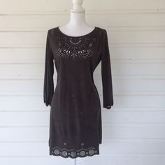 """Flying Tomato Laser Cut Brown Boho Dress This dress is gorgeous! Made from a microfiber, it is very soft. The design is beautiful in person and can be worn as a daring boho dress or more modestly with a bralette underneath. Charcoal brown color. 20"""" from underarm to underarm. 33"""""""" shoulder to hem. Anthropologie brand, Flying Tomato. Small pull on one of the elements of lace, see second photo, hem design element , left of center. Flying Tomato Dresses"""