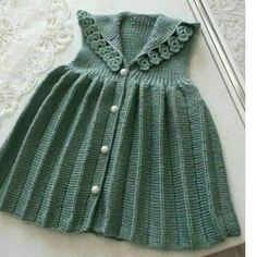 Pleated Flower Decorated Children's Gilet 3 Age - Crochet Knit Baby Dress, Baby Cardigan, Knitting For Kids, Baby Knitting Patterns, Fabric Christmas Ornaments, Clay Ornaments, Angel Ornaments, Vintage Ornaments, Felt Christmas
