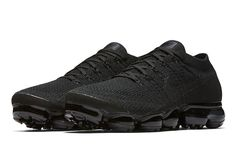"""Finally, a true """"Triple Black"""" Vapormax! six new colorways in total are ready to drop this season. For a detailed look at all six, tap the link in our bio. All Black Shoes, Black Nike Shoes, Black Laces, All Black Sneakers, Sneakers Nike, Curvy Petite Fashion, Triple Black, Discount Nikes, Fashion Shoes"""