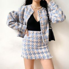 Single-breasted jacket + elastic high waist bag hip skirt · FE CLOTHING · Online Store Powered by Storenvy Preppy Outfits, Korean Outfits, Preppy Style, Classy Outfits, Stylish Outfits, Cute Outfits, Fashion Outfits, Asian Fashion, Look Fashion