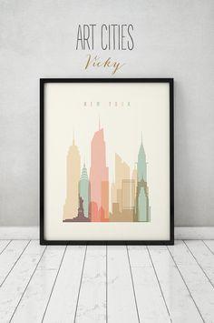 New York print, Poster, Wall art, Cityscape, New York skyline, City poster, Typography art, Gift, Home Decor, Digital Print ART PRINTS VICKY