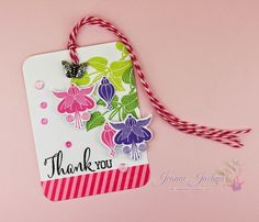 A Kept Life: Artistically Cute but with taste and class Stamps:  Clearly Besotted Fuchsias; Die Cuts:  Clearly Besotted Fuchsias; Ink:  Memento Pear Tart, Bamboo Leaves, Rose Bud, Grape Jelly; Washi Queen; Twinery Twine Pink Sorbet;Sequins: Pretty Pink Posh; Butterfly Charm from my stash