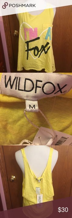 24 hour Sale! I'm a fox tank New with tags Wildfox Tops Tank Tops