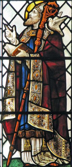St. David (DEGUI, DEWI). Stained glass window St. David of Wales Bishop and Confessor, patron of Wales. He is usually represented standin...