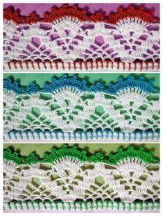 10 ideias de bicos de crochê Crochet Doily Rug, Crochet Blanket Edging, Crochet Lace Edging, Crochet Borders, Crochet Home, Crochet Stitches, Crochet Patterns, Filet Crochet Charts, Crochet Table Runner