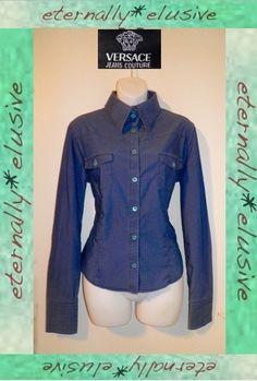 VTG 90s GIANNI VERSACE JEANS COUTURE Western Cowboy Shirt Top Women Ladies 12 14
