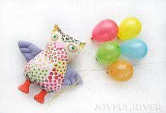 SALE  20 OFF Stuffed toy Joyful Owl   Flowery owl by JoyfulRiver, $23.00