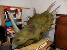 Nick Allen, who joined us in the past to show off his two museum-quality T-Rex sculptures (see posts here and here)… Paper Mache Sculpture, Lion Sculpture, Paper Sculptures, Dinosaur Birthday, 4th Birthday, Birthday Ideas, Diy And Crafts, Arts And Crafts, Dragon Illustration