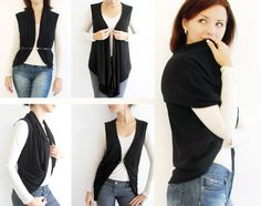 Most Versatile and Convertible Wrap Shrug Ever in Black