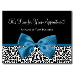 A trendy black and white leopard print hair and beauty salon appointment reminder postcard with a stylish cobalt blue ribbon tied into a girly bow. Personalize this chic animal print design by adding the name of hairstylist or beautician.