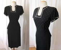Killer 1940's Black Party / Cocktail Dress with by wearitagain