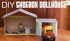 See how easy it is to turn an empty shoebox and toilet paper rolls into an adorable dollhouse! #pbscraftsforkids