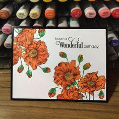 Stamp by #pennyblack slapstick cling #Fresh | Copics::The flowers: YR16, YR18, Y38, R56, R59; The stems: G03, G05, G07 (with some swipes of Y38)