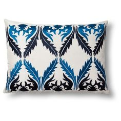 Check out this item at One Kings Lane! Exotic 14x20 Cotton Pillow, Blue/White