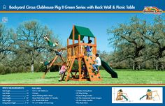 6C Backyard Circus Clubhouse Pkg II Green Series with Rock Wall and Picnic Table #swingsets #rainbowplay #rainbowplaysystem #rainbowplaysystems