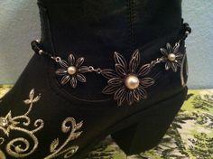 Boot Bling Jewelry Triple Flowers & Black Super Cute. $20.00, via Etsy. Boot Jewelry, Bling Jewelry, Fashion Boots, Boho Fashion, Womens Fashion, Boot Bracelet, Bracelets, Gypsy Boots, Boot Bling