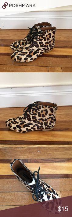 Zara - Faux Animal Print Fur Ankle Boots Zara - Faux Animal Print Fur Ankle Boots Zara Shoes Ankle Boots & Booties