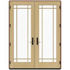 JELD-WEN 71.25 in. x 95.5 in. W-4500 Mesa Red Right Hand Inswing French Wood Patio Door