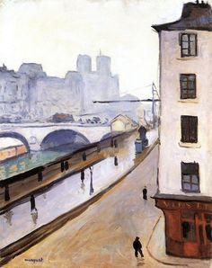 """huariqueje: """" The Pont - Saint-Michel and Notre Dame , Albert Marquet 1905 Post-impressionism """" Raoul Dufy, Great Paintings, Colorful Paintings, Paris Kunst, Art Parisien, Rio Sena, Beaux Arts Paris, Art Français, Art Van"""
