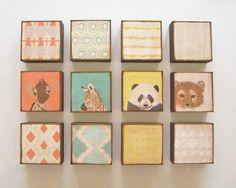 Nursery Art Block Set l Choose (12) TWELVE of our Custom Designs 5x5 wood geometric nature animal colorful personalized redtilestudio