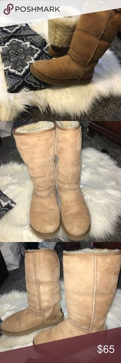 Tall chestnut uggs Previously used, open to reasonable offers, price reflects use, no trades🎀 UGG Shoes Winter & Rain Boots