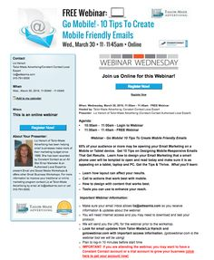 Join me on 3/30 for #WebinarWednesday to learn 10 tips to create mobile friendly emails.