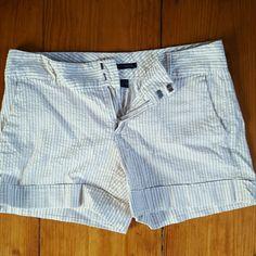 Tommy Hilfiger Seersucker Shorts Beige Striped White Seersucker Shorts. Super cute for summer! Tommy Hilfiger Shorts Jean Shorts