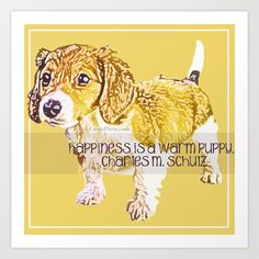"""Dachshund Puppy 8"""" x 8"""" Pop Art Print - """"Pursuit of Happiness"""" - by CanisPicta, $25.00"""