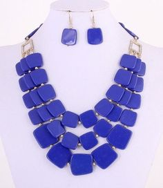 Blue Square Acrylic Beads 3 Strand Necklace Set Fashion Jewelry #FashionJewelry