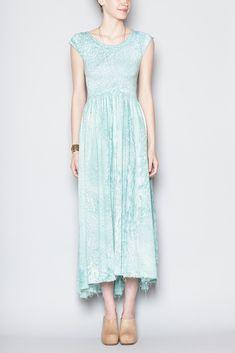 Black Crane Long Tee Dress (Aqua)