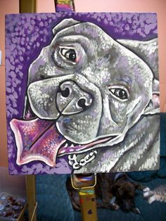 SMILING PIT BULL  hanging in the home of Shorty Rossi by Dawn Tarr