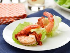 Tender leaves of Bibb lettuce make the perfect cups for roasted shrimp and cocktail sauce.