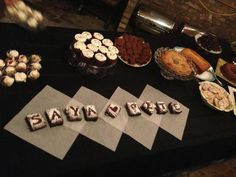 One of our best ideas -- no wedding cake, dessert table provided by loved ones. We had 17 folks bring an array of goodies.