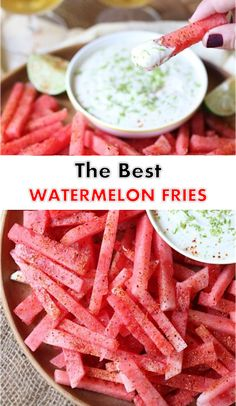 Watermelon Fries with Coconut Lime Dip Recipe - Tasty Foods Recipes Dip Recipes, Sweet Recipes, Dessert Recipes, Cooking Recipes, Coconut Recipes, Desserts, Coconut Deserts, Party Recipes, Watermelon Appetizer