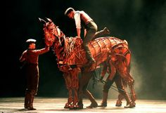 """Andrew Veenstra as the principal character Albert mounts his puppet horse  Joey for the first time in """"War Horse"""" now playing at the Curran Theatre in San Francisco Thursday August 2, 2012. Photo: Lance Iversen, The Chronicle / SF"""