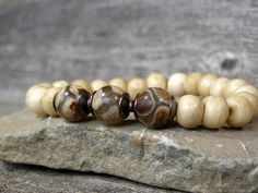 Mens Beaded Stretch Bracelet  Guys Jewelry by StoneWearDesigns