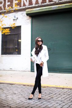 Black + White - T by Tahari coat c/o Bluefly  // AG Jeans Topshop sweater // Jimmy Choo heels Monday, November 3, 2014