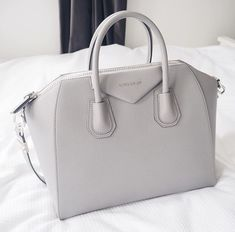Small Grey Grained Leather Givenchy Antigona Handbag