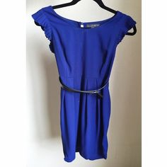 Cobalt Blue Dress Cobalt blue dress with detailed sleeve and bow belt. Super cute dress, perfect with your favorite pumps! Forever 21 Dresses