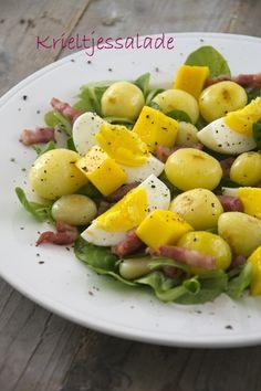 Krieltjessalade met spekjes en mango - Brenda Kookt