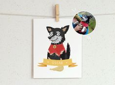 An illustrated custom portrait. Pet portrait dog by animcphee