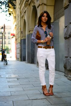 gingham + white jeans+ Mesh Shirt and Indie Jeans!