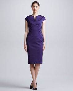 Pre-Fall - It's Time to Think About...Violet: Slit-Front Seamed Dress, Amethyst by Lela Rose at Neiman Marcus.
