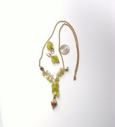 Jade Necklace Grapes on the Vine   Wire by BEADEDNECKLACESHOPPE